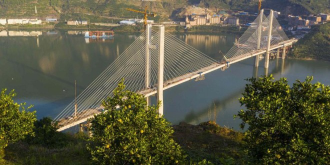 三峡库区童庄河大桥合龙